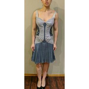 Zac POSEN Blue Lilac Pleated Sheath Dress SZ 10 8